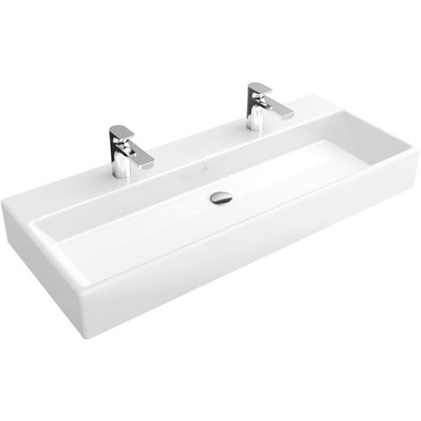 Lavabo Villeroy und Boch Memento 5133AK 1000x470mm, blanco, con rebosadero, apto para dos grifos de 1 agujero, parte inferior pulida, color: Blanco - 5133AK01