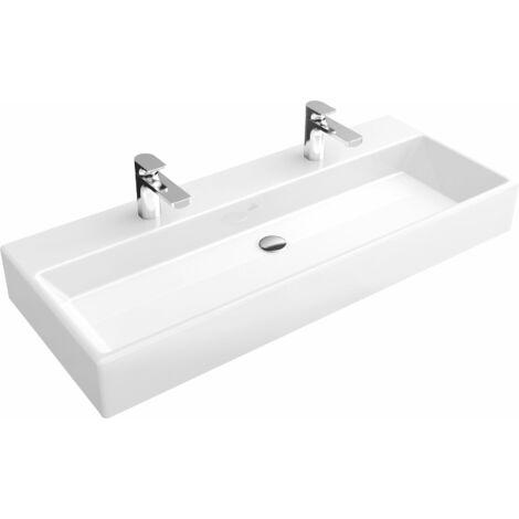Lavabo Villeroy und Boch Memento 5133CK 1200x470mm, blanco, con rebosadero, apto para dos grifos de 1 agujero, parte inferior pulida, color: Blanco - 5133CK01