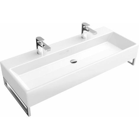 Lavabo Villeroy y Boch Memento 5133A1 1000x470mm, blanco, sin rebosadero, apto para dos griferías de 1 agujero, color: Blanco - 5133A101