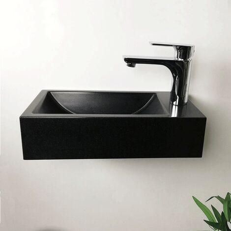 Lavamanos colgante negro 40 cm en piedra sintética - Telma D