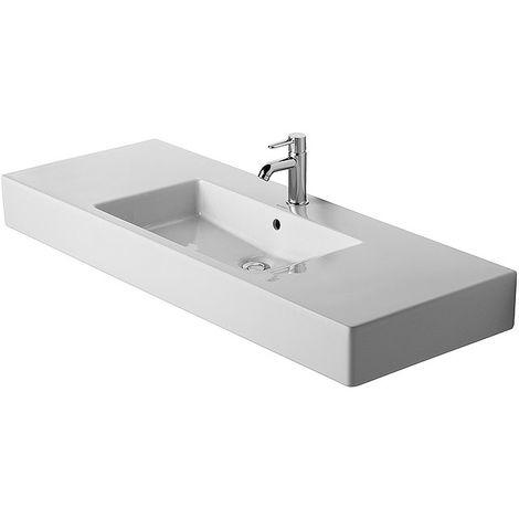 Lavamanos para muebles Duravit Vero 125cm, con rebosadero, con agujero para grifos sin agujero para grifos, color: Blanco con Wondergliss - 03291200601