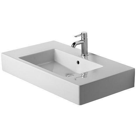 Lavamanos para muebles Duravit Vero 85cm, con rebosadero, con banco con agujero para grifo, 1 agujero para grifo, color: Blanco - 0329850000