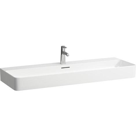 Lavamanos para muebles VAL en ejecución, 2 agujeros para grifos, sin rebosadero, 1200x420,, color: Blanco - H8102890001151