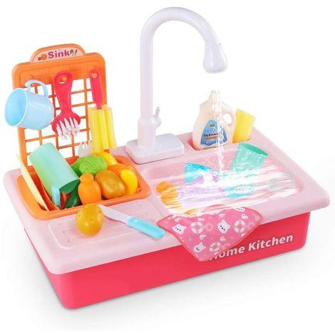 Lavandino Rubinetto Cucina Giocattolo Bambini Funzionante ad Acqua con Accessori
