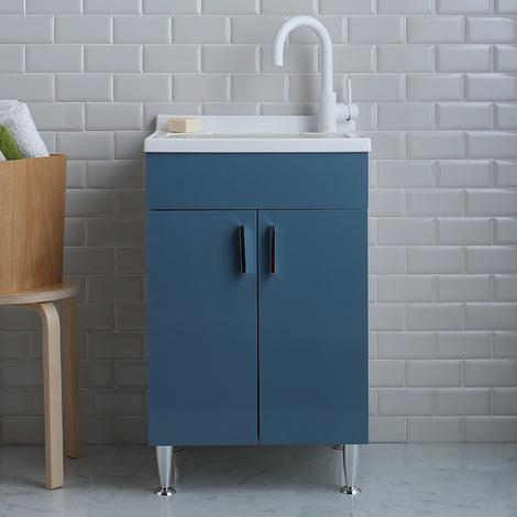Pilozza Ceramica Con Mobile.Lavatoio 2 Ante 50x50 Con Mobile Colore Azzurro Bermuda