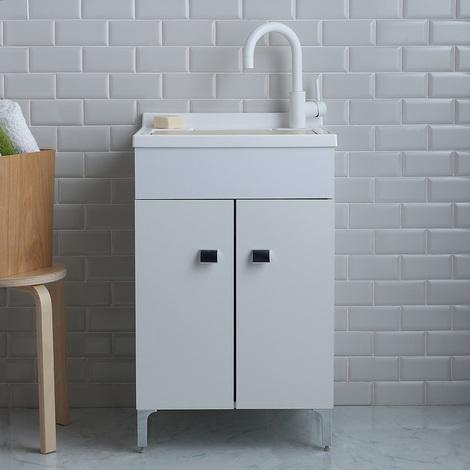Offerte Lavatoio Per Lavanderia.Lavatoio Lavanderia 50x50 Cm Con Mobile Bianco E Asse Inclusa