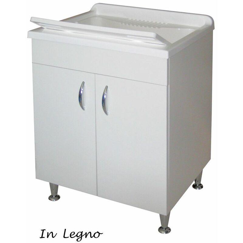 Lavatoio Legno 60x50 Mobile Lavanderia Lavabo in Resina Sifone Lavello  Lavapanni