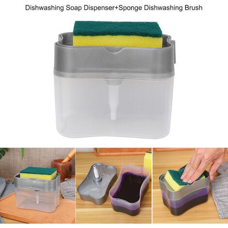 Lavavajillas dispensador de jabon Esponja Dishwashing pincel de esponja Holder 2 en 1 encimera dispensador de jabon de la bomba dispensador de jabon Esponja Caddy