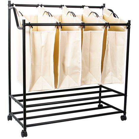 Lave-linge trieur 4 compartiments panier à linge sac à linge beige boît à linge