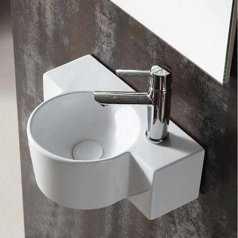 Lave main Asymétrique Droite - Céramique blanc - 40x28 cm - Pool