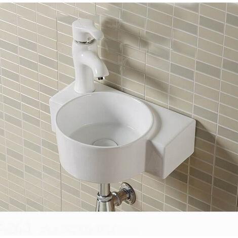 Lave main Asymétrique Gauche - Céramique blanc - 40x28 cm - Pool