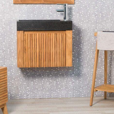 Lave main et meuble suspendu en teck LUXE 60 noir