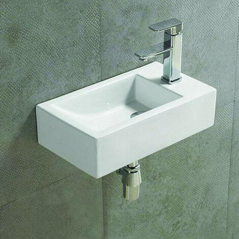 Lave main Rectangulaire Droite - Céramique Blanc - 46x26 cm - Studio