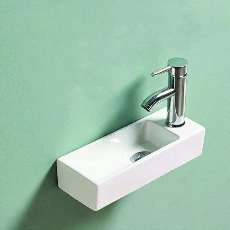 Lave Main Rectangulaire Gain De Place Droite Céramique Blanc 38x15 Cm Minimalist