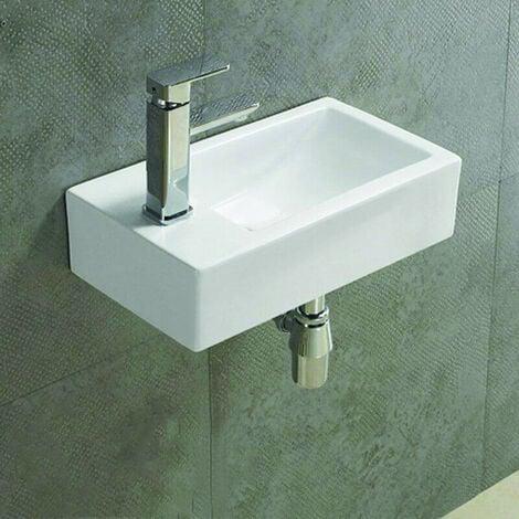 Lave main rectangulaire Gauche - Céramique - 46x26 cm - Studio