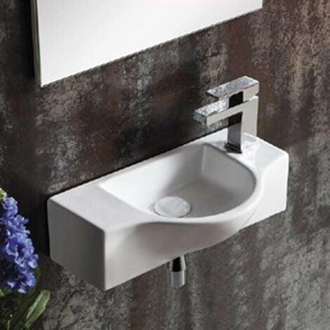 Lave Main Rectangulaire Sans trop Plein - Céramique - 45x25 cm - Arum