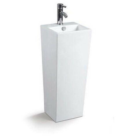 Lave Main Totem Carré - Céramique Blanc - 33x84 cm - Line