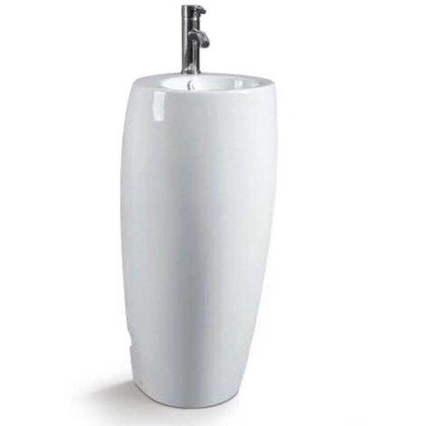 Lave Main Totem Rond - Céramique Blanc - 39x85 cm - Ove