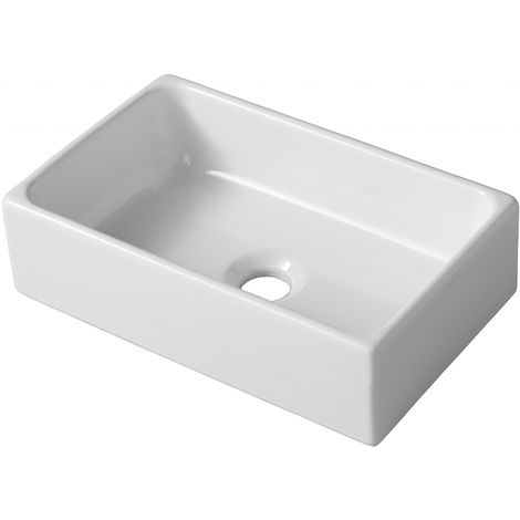 """main image of """"Lave mains a poser Line R en ceramique blanc"""""""