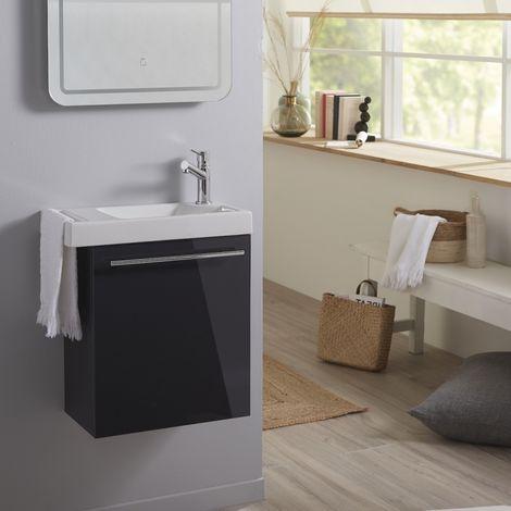 Lave mains anthracite brillant pour wc avec robinet eau froide a droite