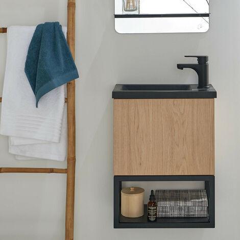 Lave-mains Bois et Métal Noir et décor Chêne L40 x H50 NOVA - Bois clair