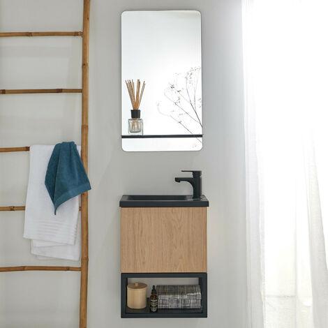 Lave-mains Bois et Métal Noir NOVA + Miroir avec tablette Noir Mat - Bois clair