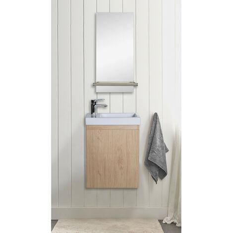 Lave-mains Chêne L41 x H53 LISA + Miroir Mural