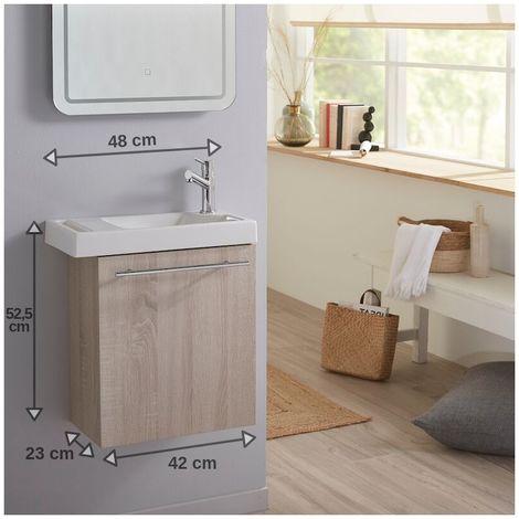 Lave mains couleur chêne caledonia pour wc avec robinet eau froide à droite