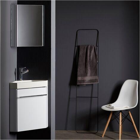 Lave-mains d'angle avec meuble complet blanc brillant et mitigeur eau chaude/ eau froide