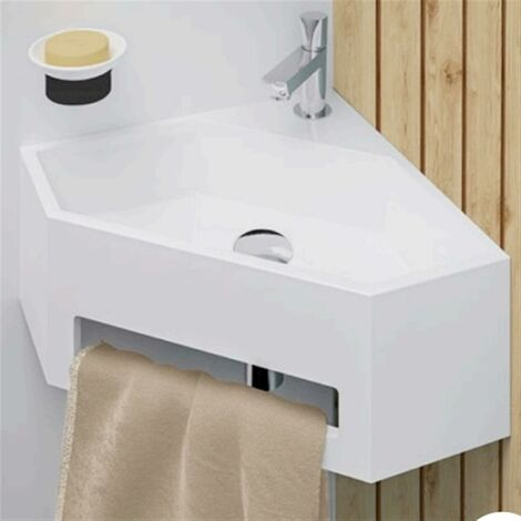 """main image of """"Lave-mains d'angle blanc avec porte serviette - ANGO - Lave-main d'angle - L38 x P38 x H16.5 cm- Blanc"""""""