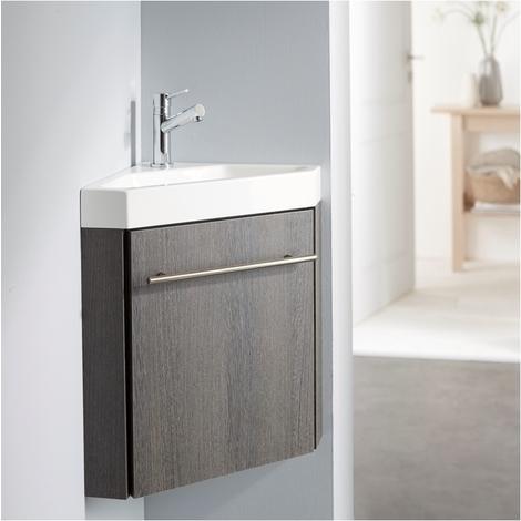 Lave-mains d\'angle complet avec meuble moderne couleur wengé + ...