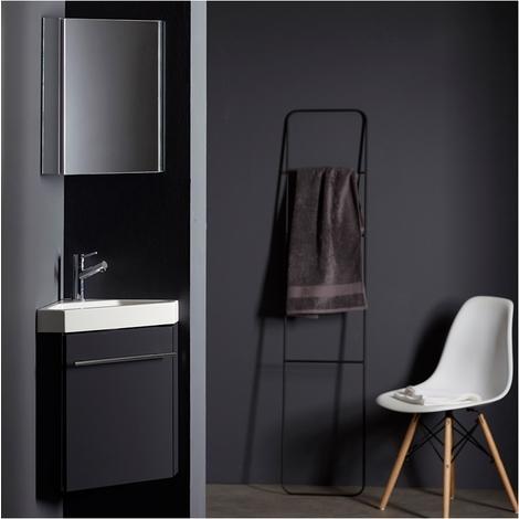 Lave-mains d\'angle complet pour WC avec meuble couleur gris anthracite