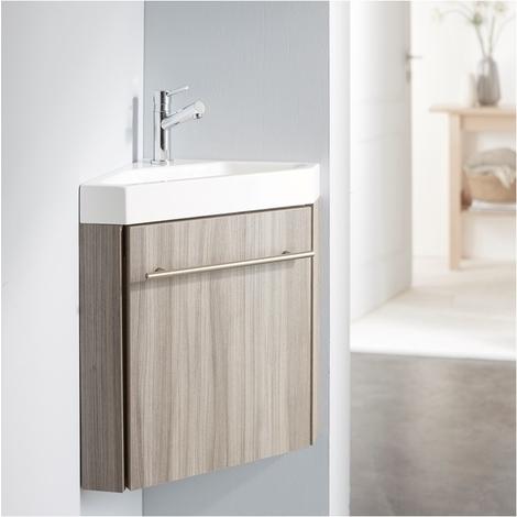 Lave Mains Du0027angle Complet Pour WC Avec Meuble Couleur Olme Gris + Mitigeur  Eau Chaude/eau Froide