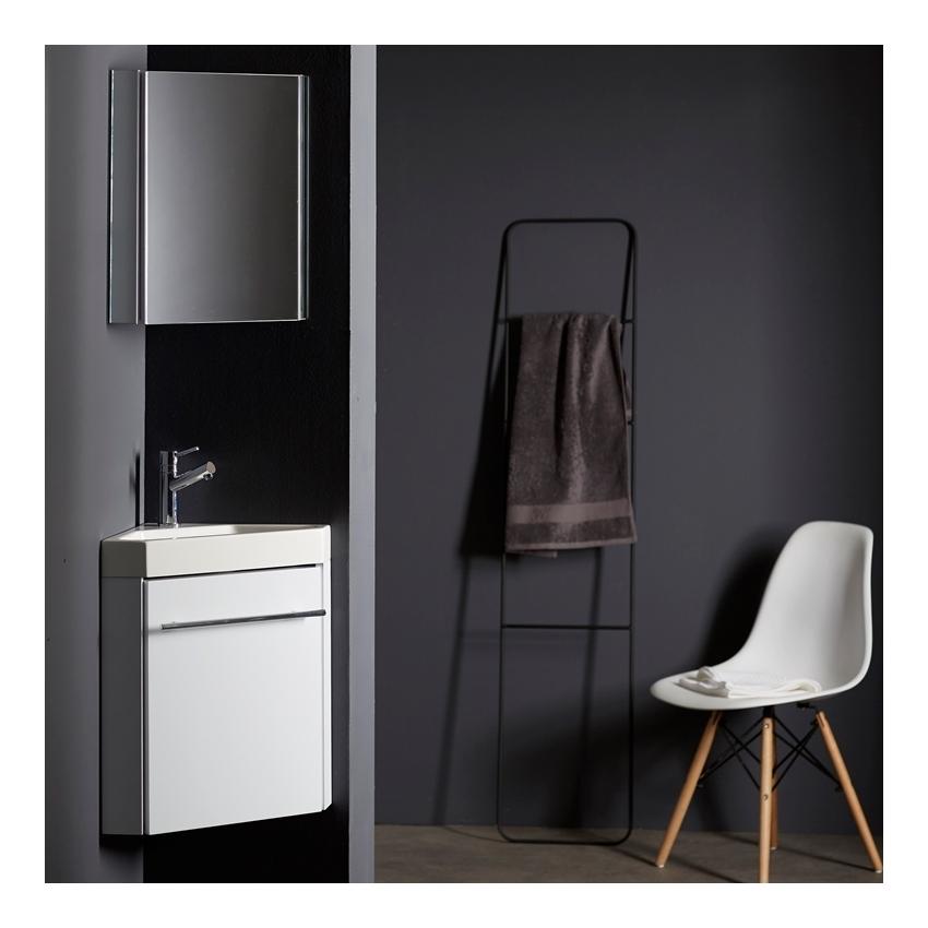 Lave mains d 39 angle complet pour wc avec meuble design blanc Meuble wc design