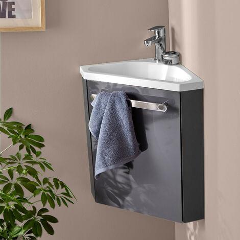 Lave-mains d'angle SKINO avec vasque résine L 35 x H 53 x P 35 cm - Gris anthracite