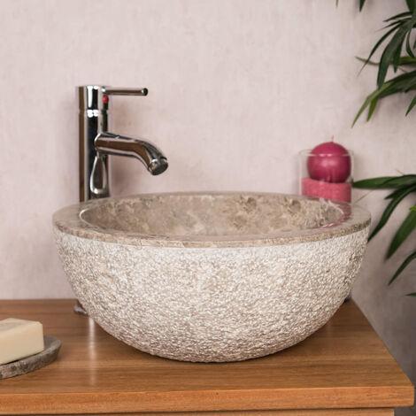 Lave mains en marbre à poser Stromboli gris 35cm