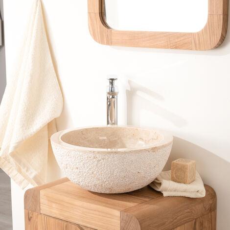 Lave mains en pierre à poser STROMBOLI crème 35cm
