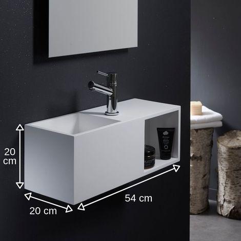 Lave-mains en solid surface Arezzo 54x20 cm avec espace de rangement