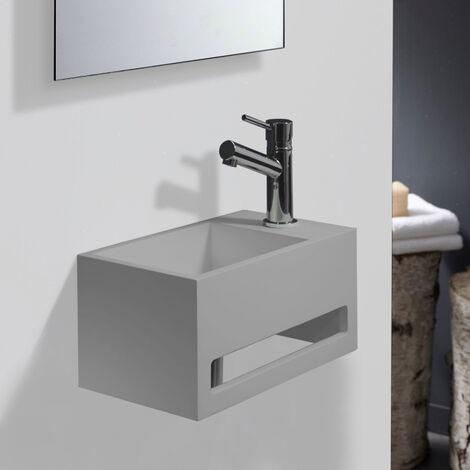 Lave-mains gain de place en solid surface Prato 33x18 cm avec porte-serviette Gris ciment