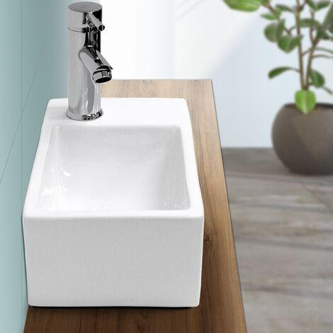 Lave-mains lavabo vasque salle de bain céramique rectangulaire blanc 350x205mm