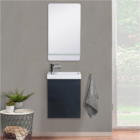 Lave-mains LISA + Miroir avec tablette Blanche - Gris anthracite