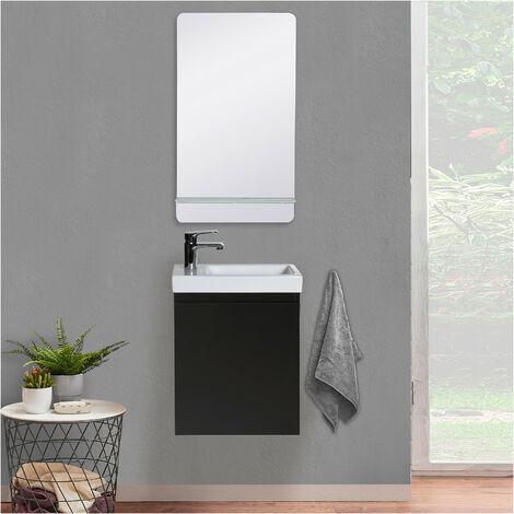 Lave-mains LISA + Miroir avec tablette Blanche - Gris sable