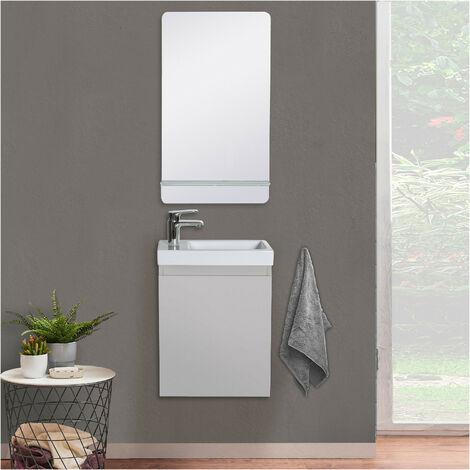Lave-mains LISA + Miroir avec tablette Blanche - Noir carbone