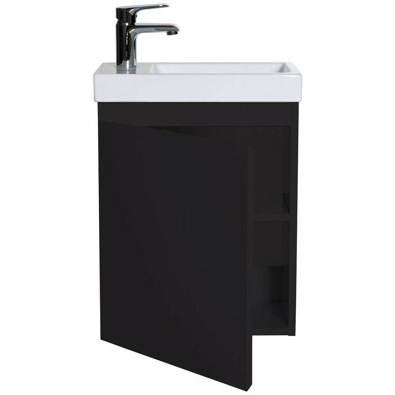 Miroir L40 cm avec Tablette Noire Lave-Mains Hampton