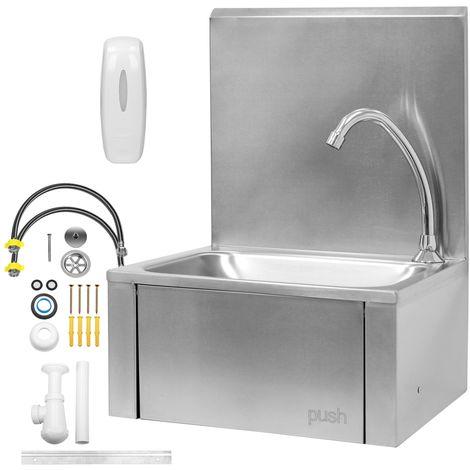 Lave-mains mural en acier inoxydable lavabo avec distribuitor de savon envier 8L