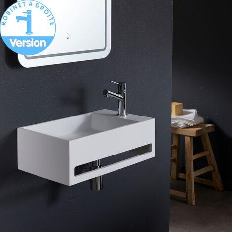 Lave mains Prato Grande taille en solide surface robinetterie à droite