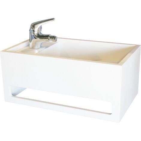 Lave-mains rectangle SOLICE - Blanc - 50x30cm - Solid Surface - Sans trop plein