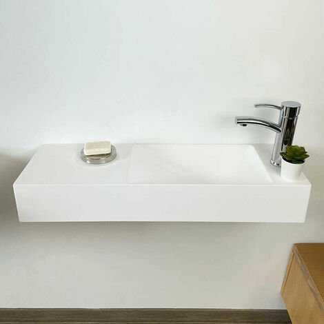 Lave-mains rectangulaire 80 cm suspendu - Mila D