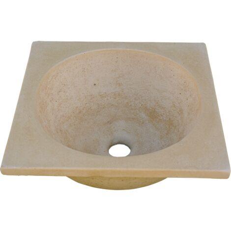 LAVE-MAINS RUSTIQUE CARRÉ pour intérieur ou extérieur en béton-pierre 48X39X16cm.