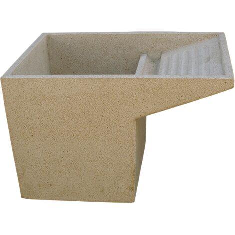 LAVE-MAINS RUSTIQUE OVALE pour intérieur ou extérieur en béton-pierre 56X43X16cm.
